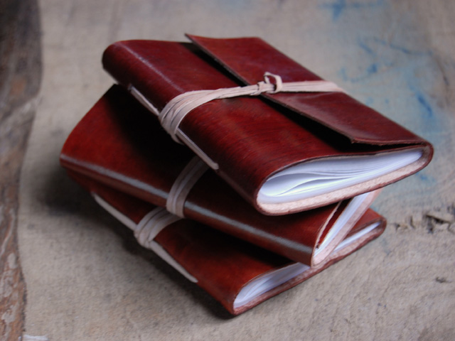 Red leather-notebook